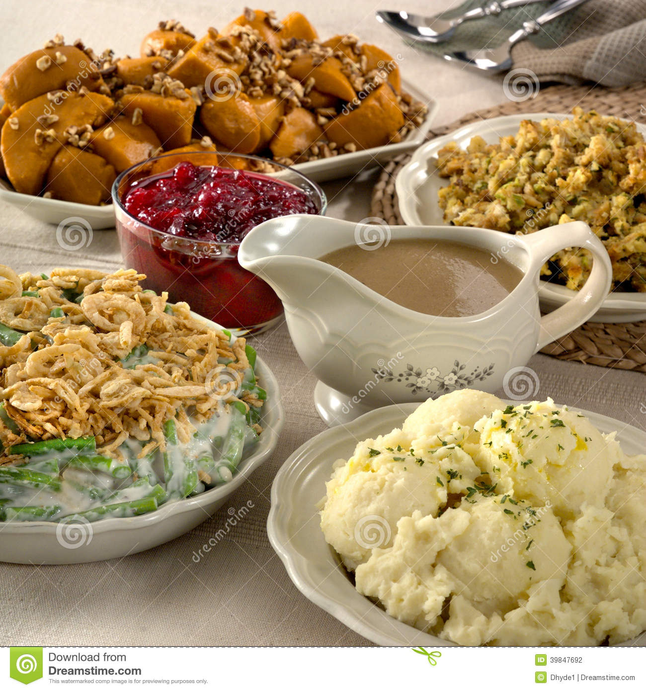 Thanksgiving Side Dishes Stock Photo