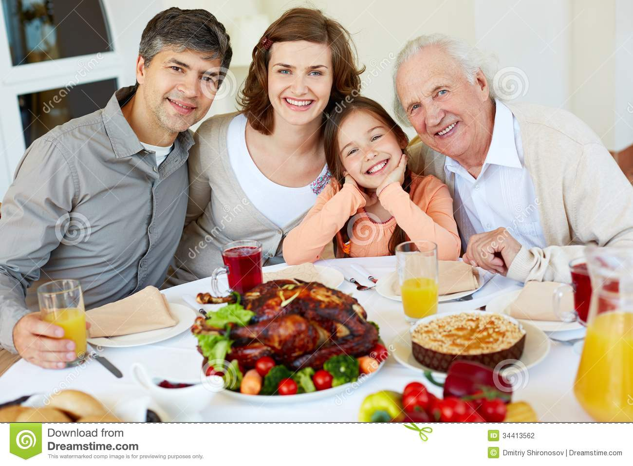 At Thanksgiving Table Stock Photo Image Of Child People