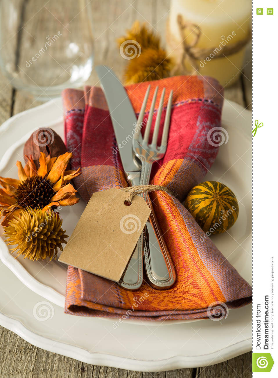 Table Setting Background thanksgiving table setting on rustic wood background stock photo