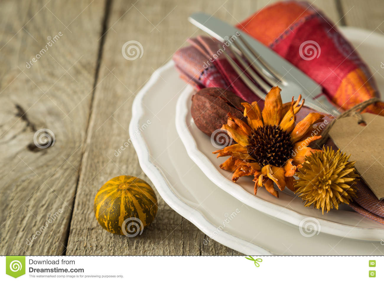 Download Thanksgiving Table Setting On Rustic Wood Background Stock Image