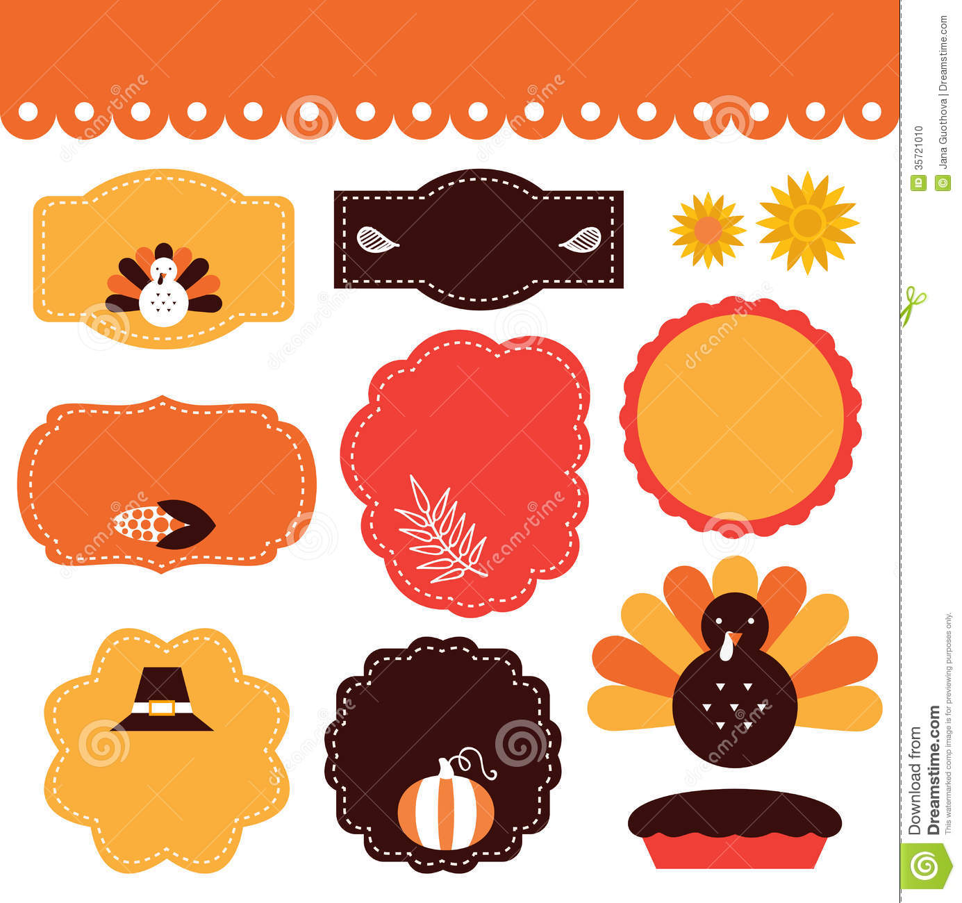 Thanksgiving Tags And Elements Set Stock Photo Image
