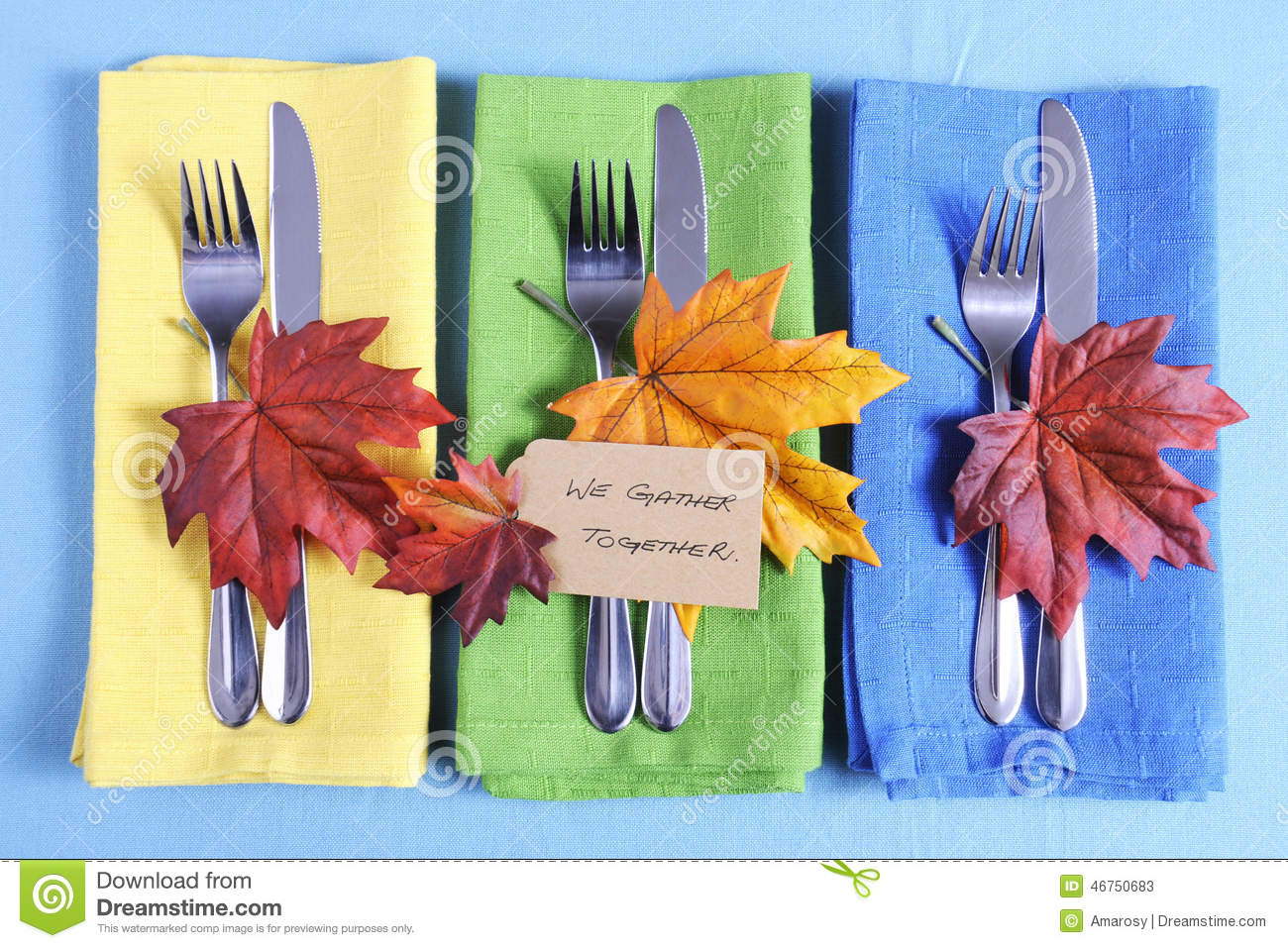 Thanksgiving Tbale Place Setting In Blue Green And Yellow