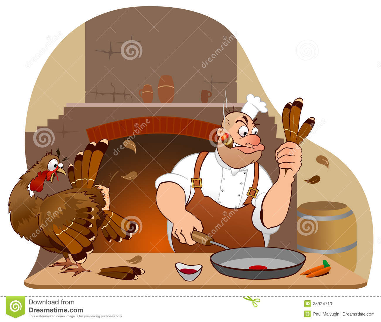 Thanksgiving Turkey And Chef Cartoon Characters Stock ...