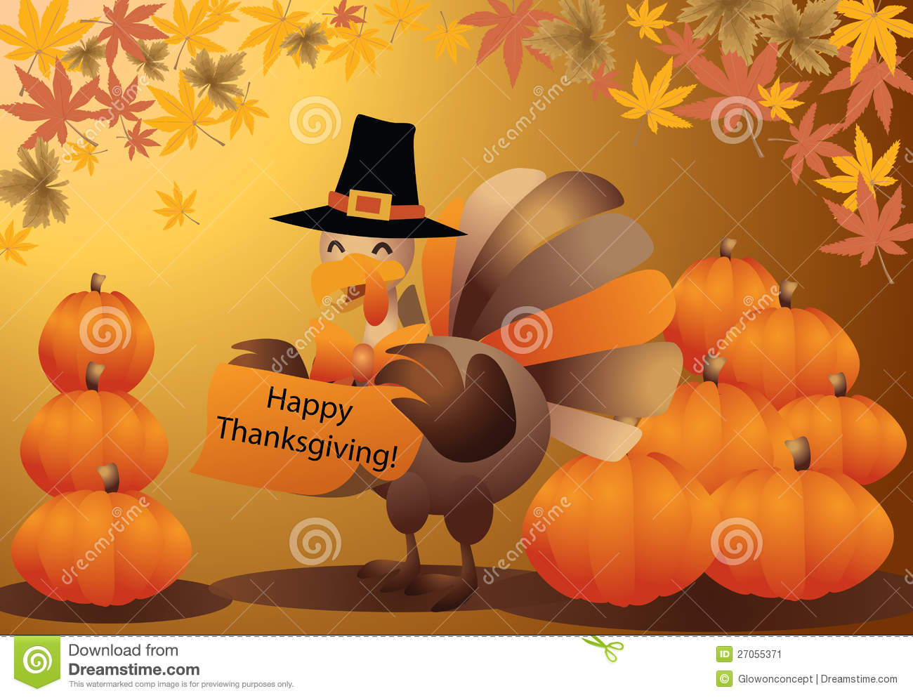Thanksgiving Turkey Halloween Pumpkin Greeting Car Stock Image - Image ...