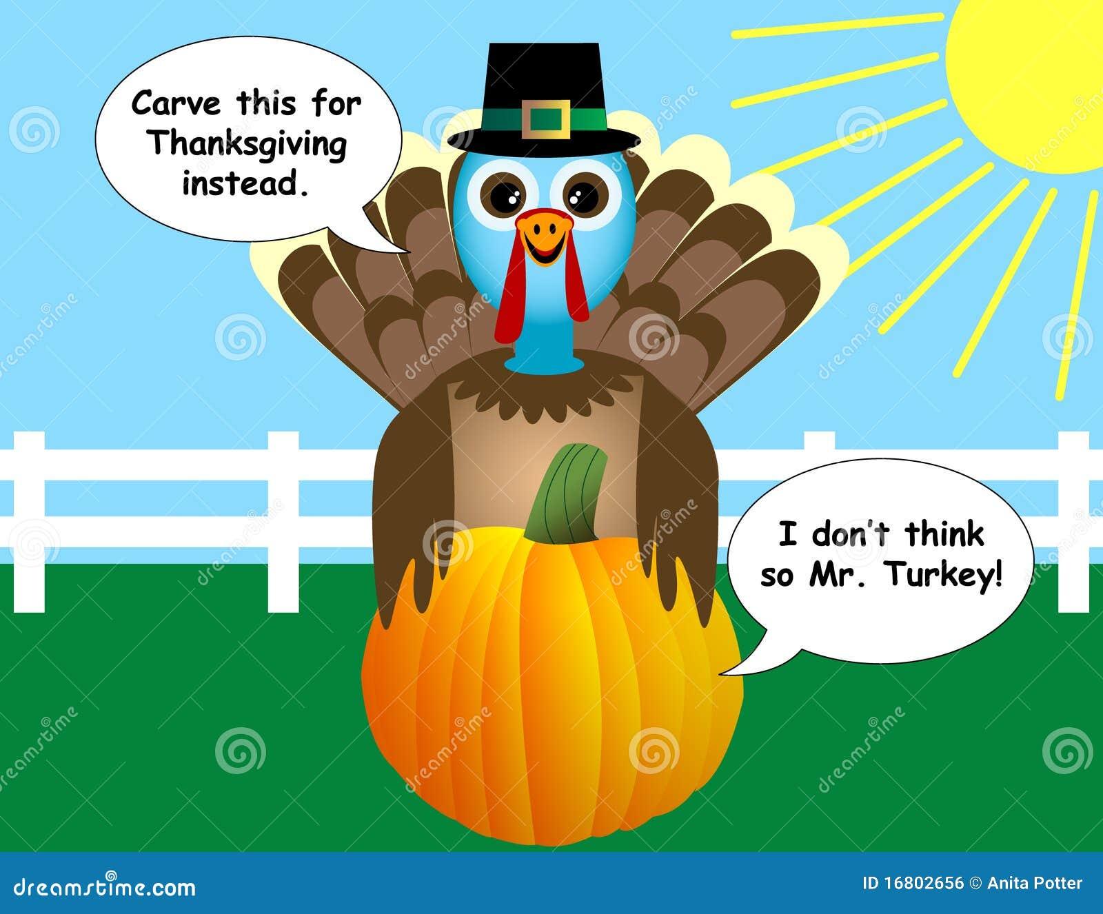 Thanksgiving Turkey And Pumpkin Cartoon Stock Vector ...