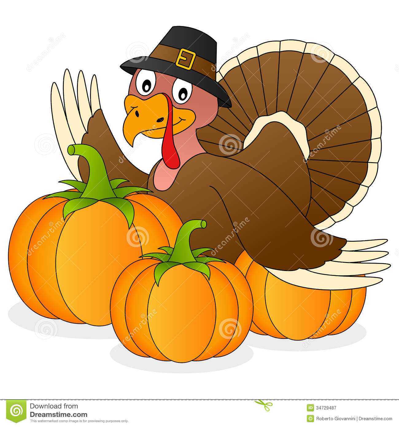 Thanksgiving turkey and pumpkins stock vector image for Funny pumpkin drawings