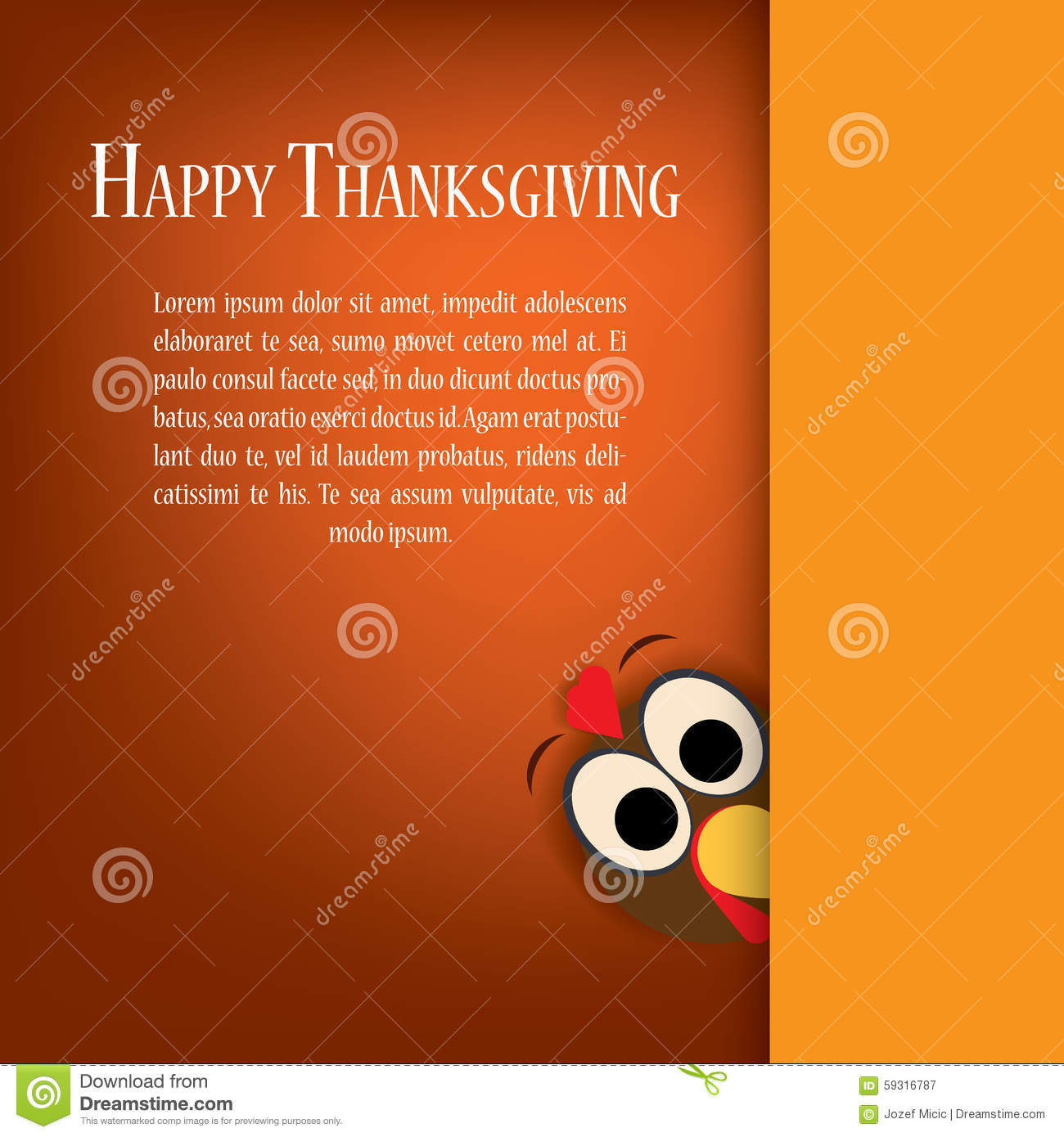 thanksgiving turkey vector  holiday card template stock