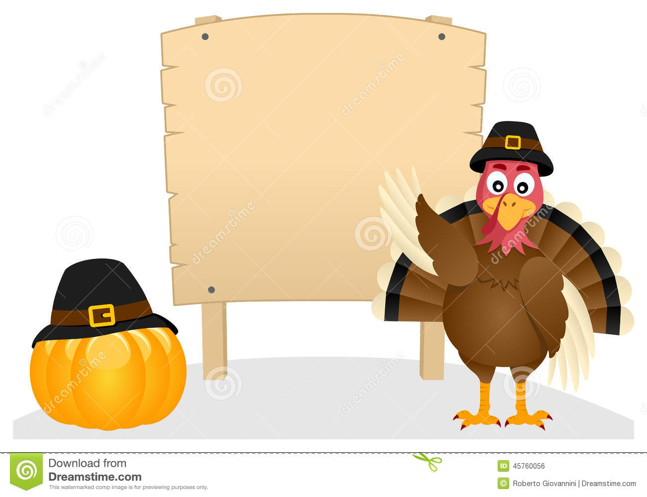 Thanksgiving Turkey And Wooden Banner Stock Vector - Image: 45760056