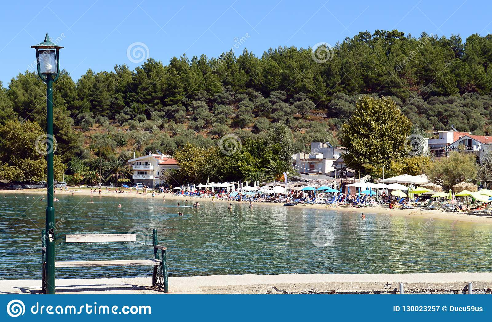 Beautiful View Of Limenas Beach Near Old Harbor In Thassos