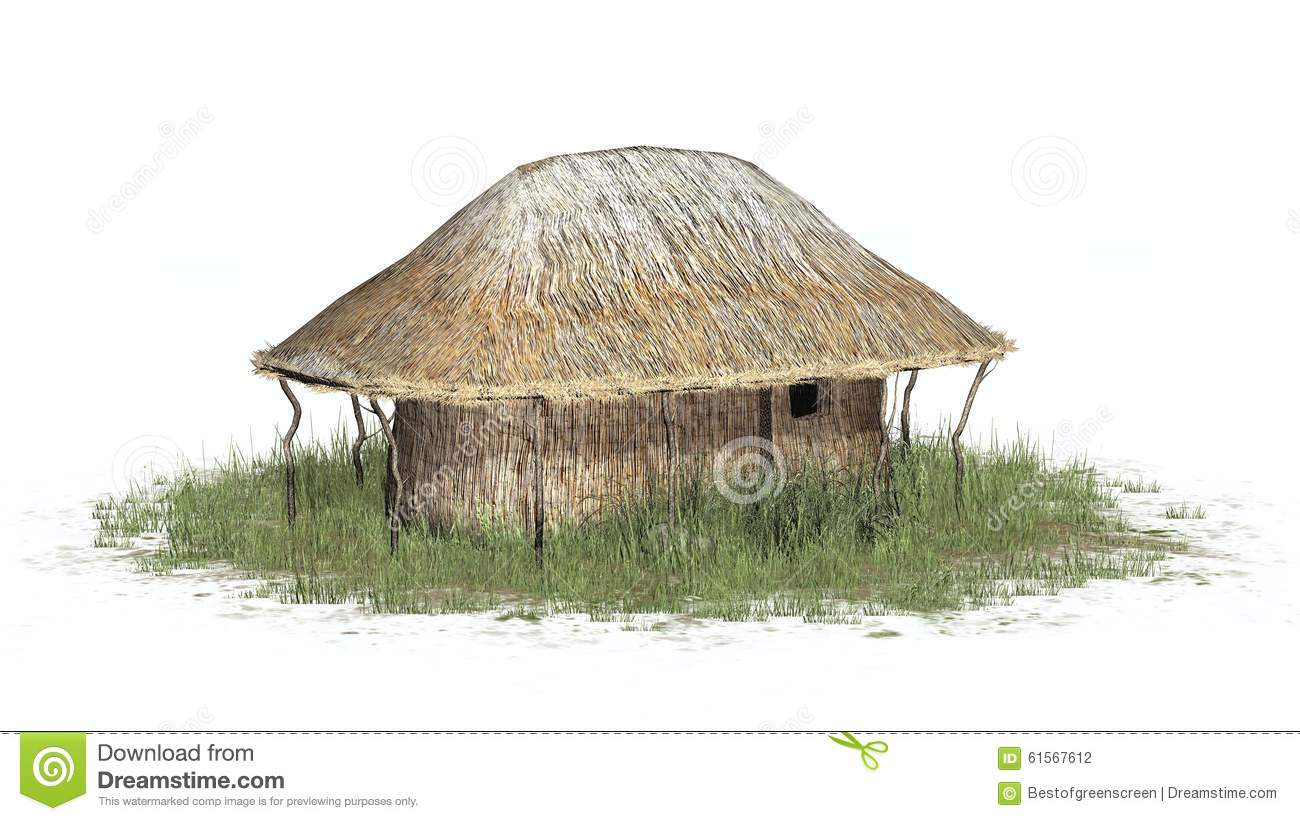 Thatch Hut In Grass On White Background Stock