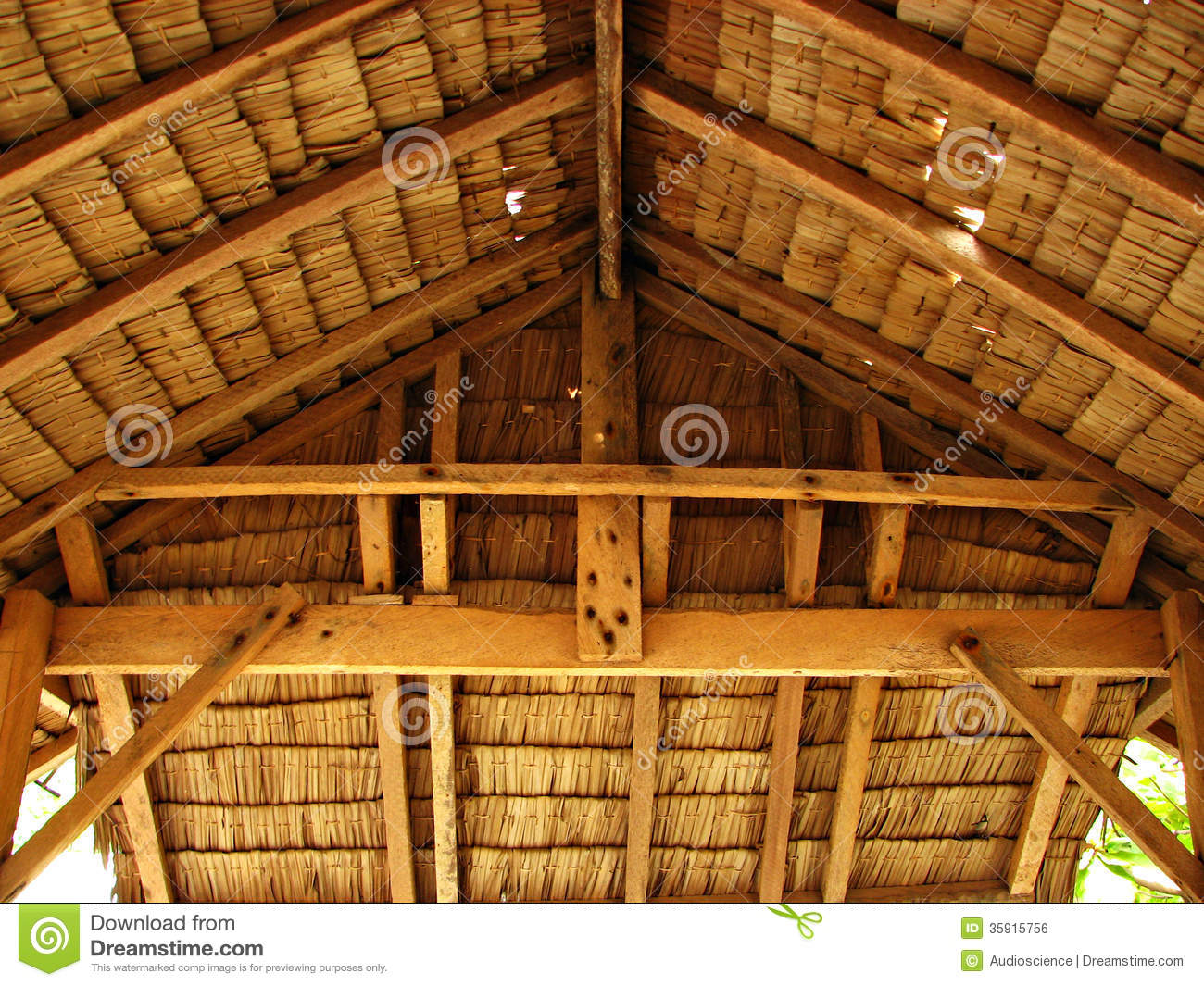 Thatch Tropical Hut Cottage Interior Royalty Free Stock