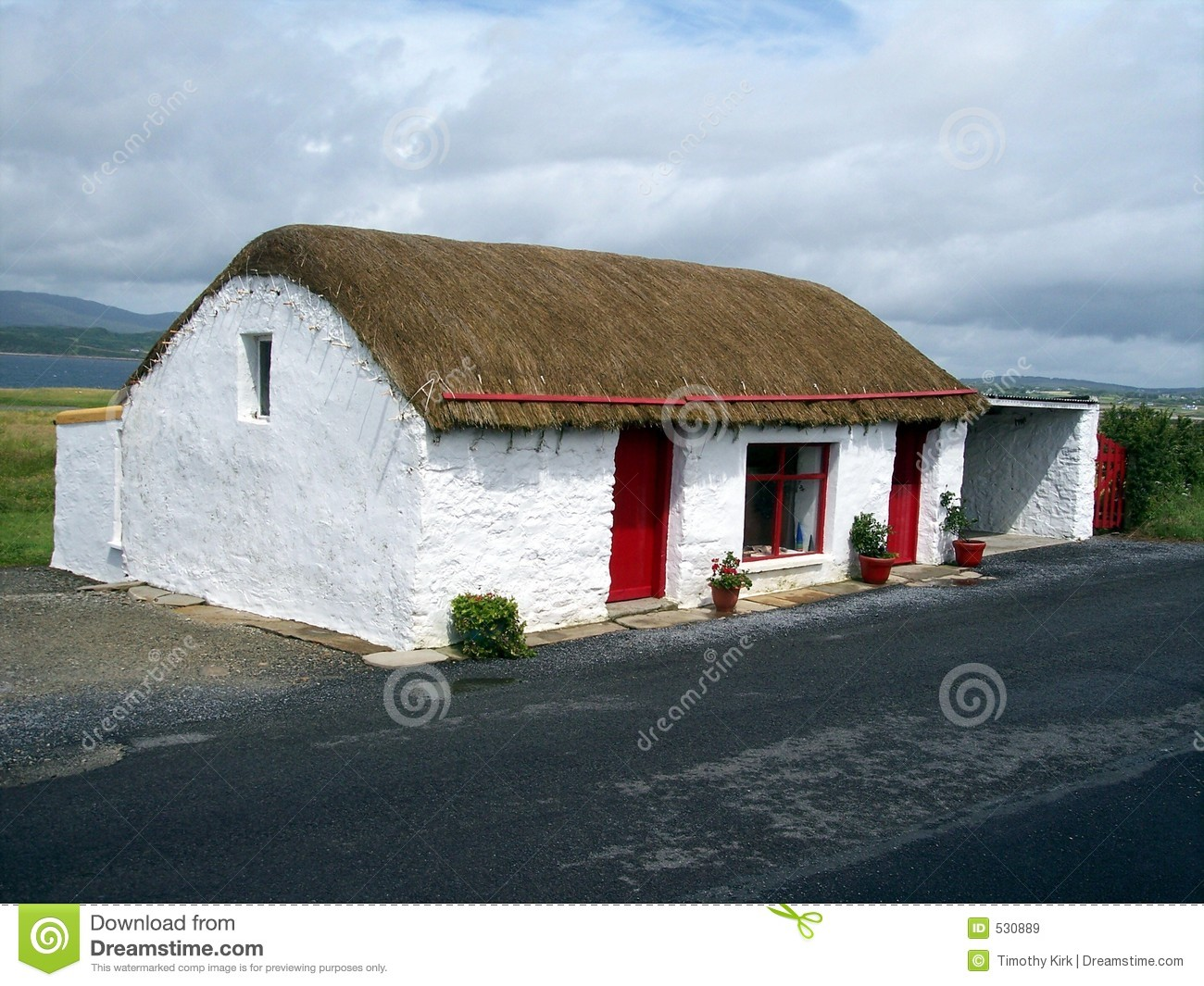Thatched Cottage Co Donegal Ireland Stock Image Image
