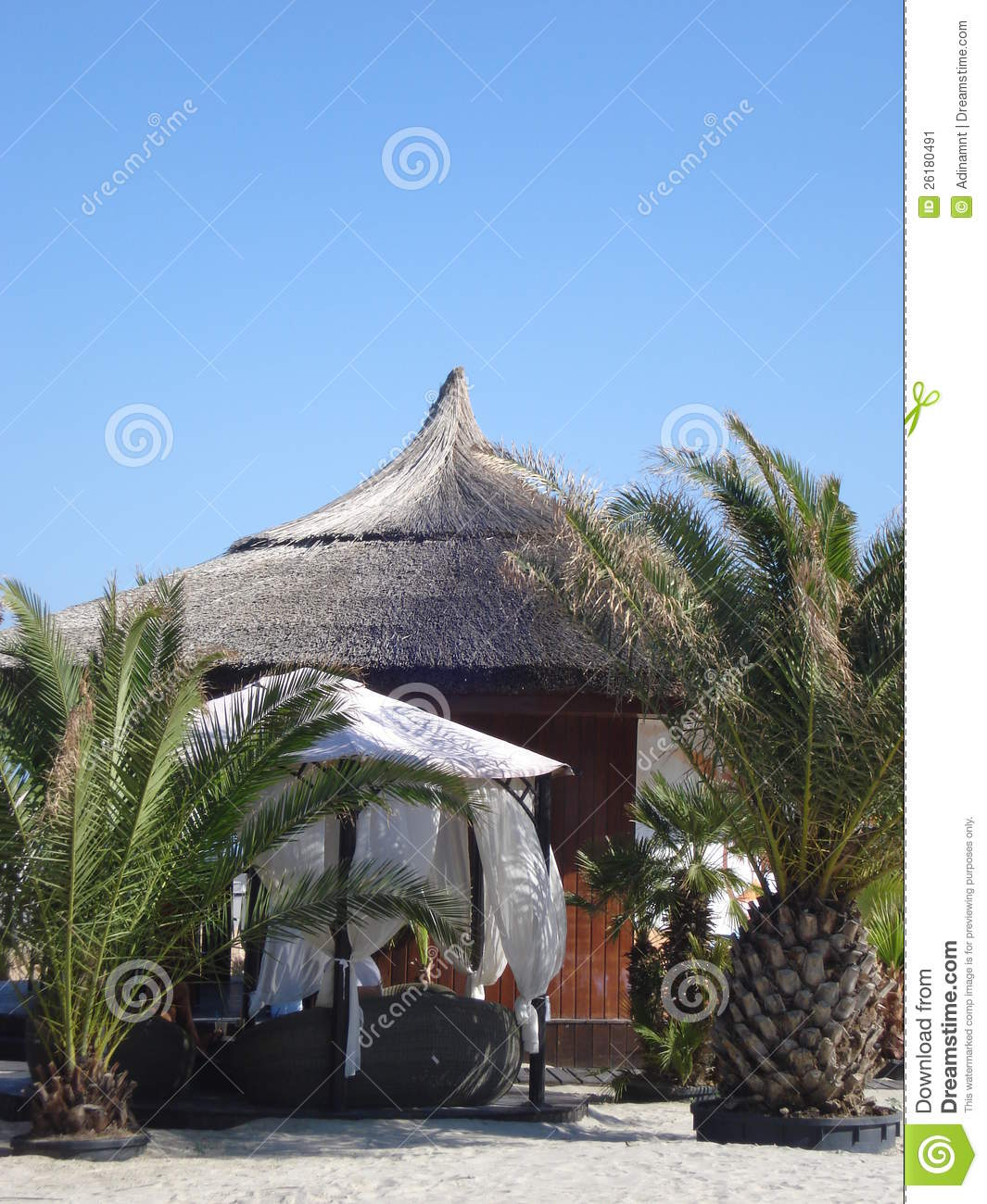 Mamaia Holidays: Thatched Hut On The Beach Stock Image