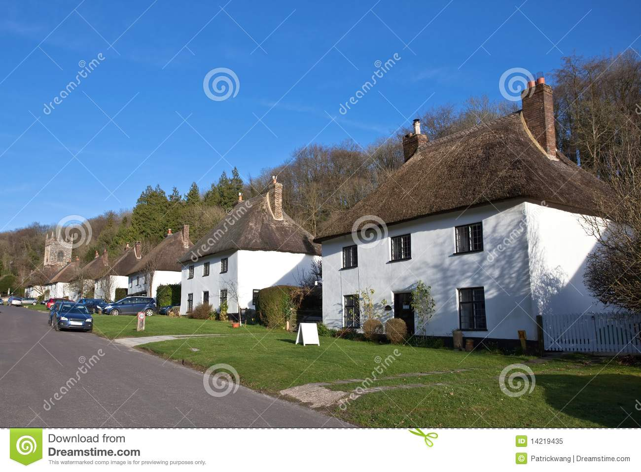 Thatched Roof Houses In English Village Royalty Free Stock