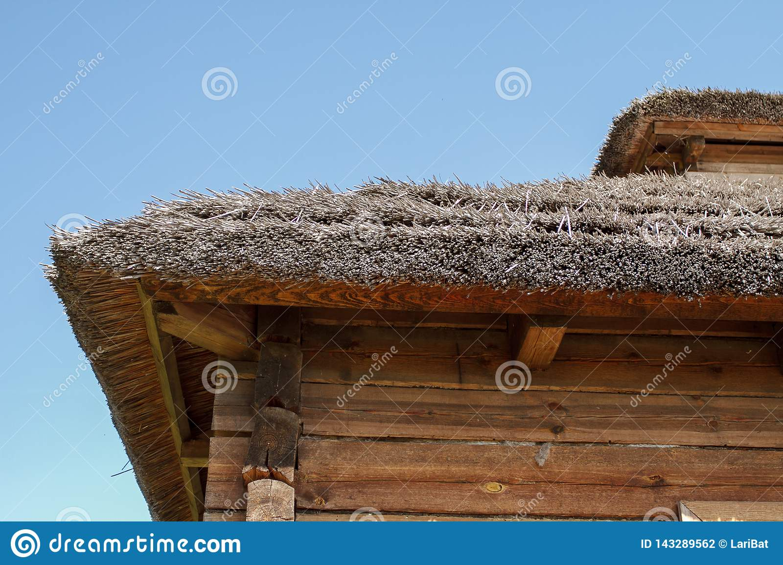 Thatched roof of a traditional Belarusian village house