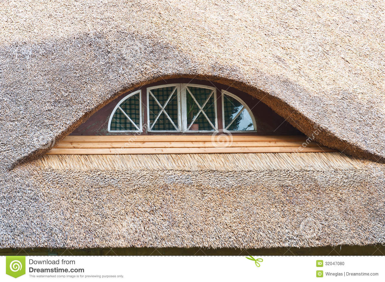 Thatched roof window half round 32047080