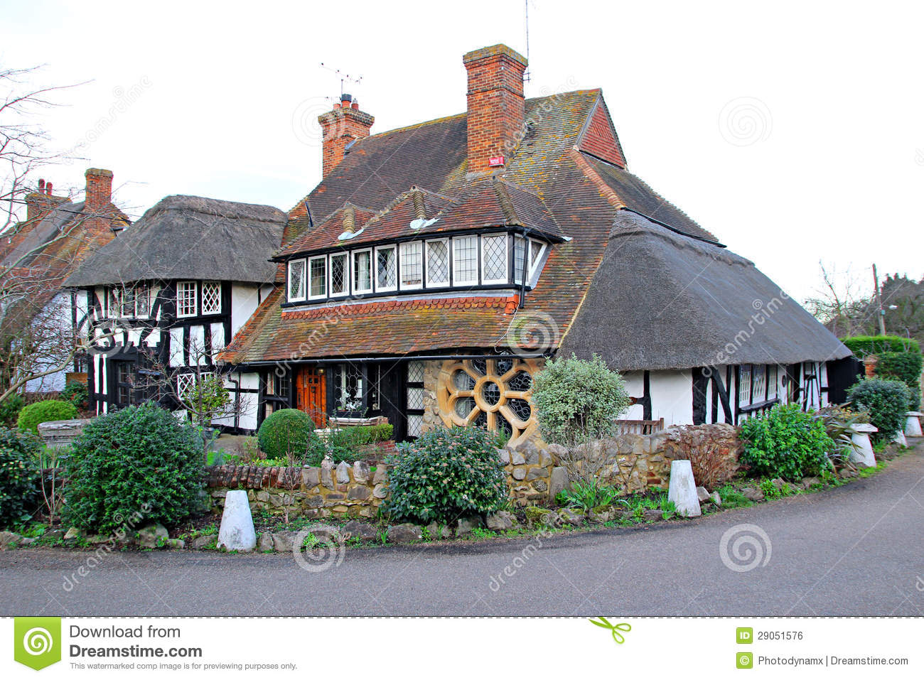 Thatched Tudor Timber Kent Cottage Royalty Free Stock