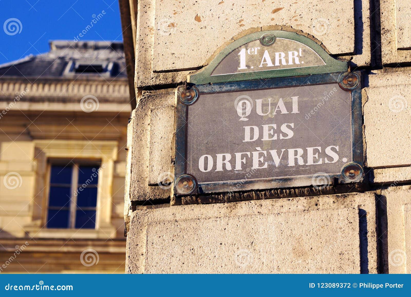 Quai Des Orfèvres Street Sign Famous Simenon 36 Paris France Stock