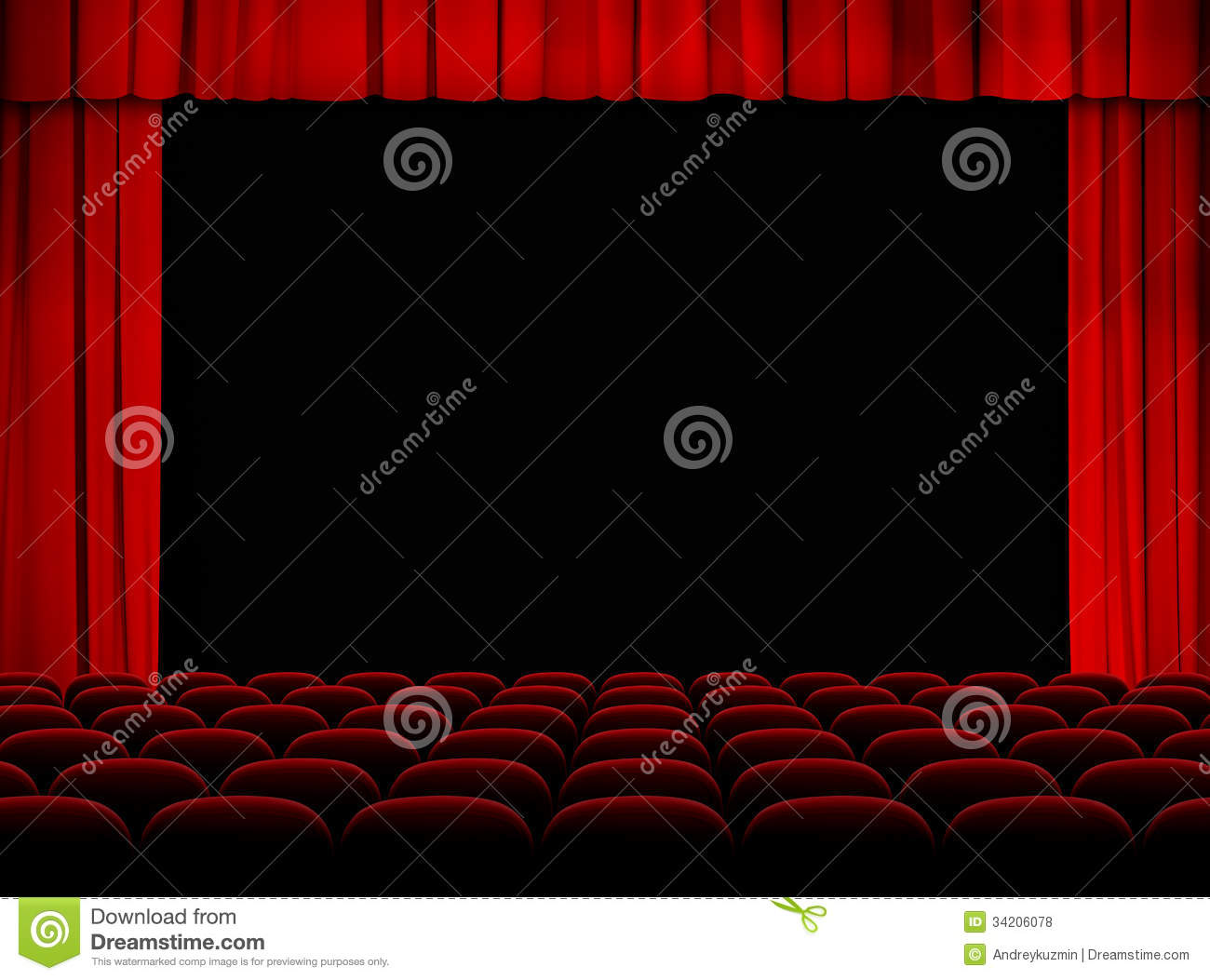 Theater auditorium with stage curtains and seats royalty free stock