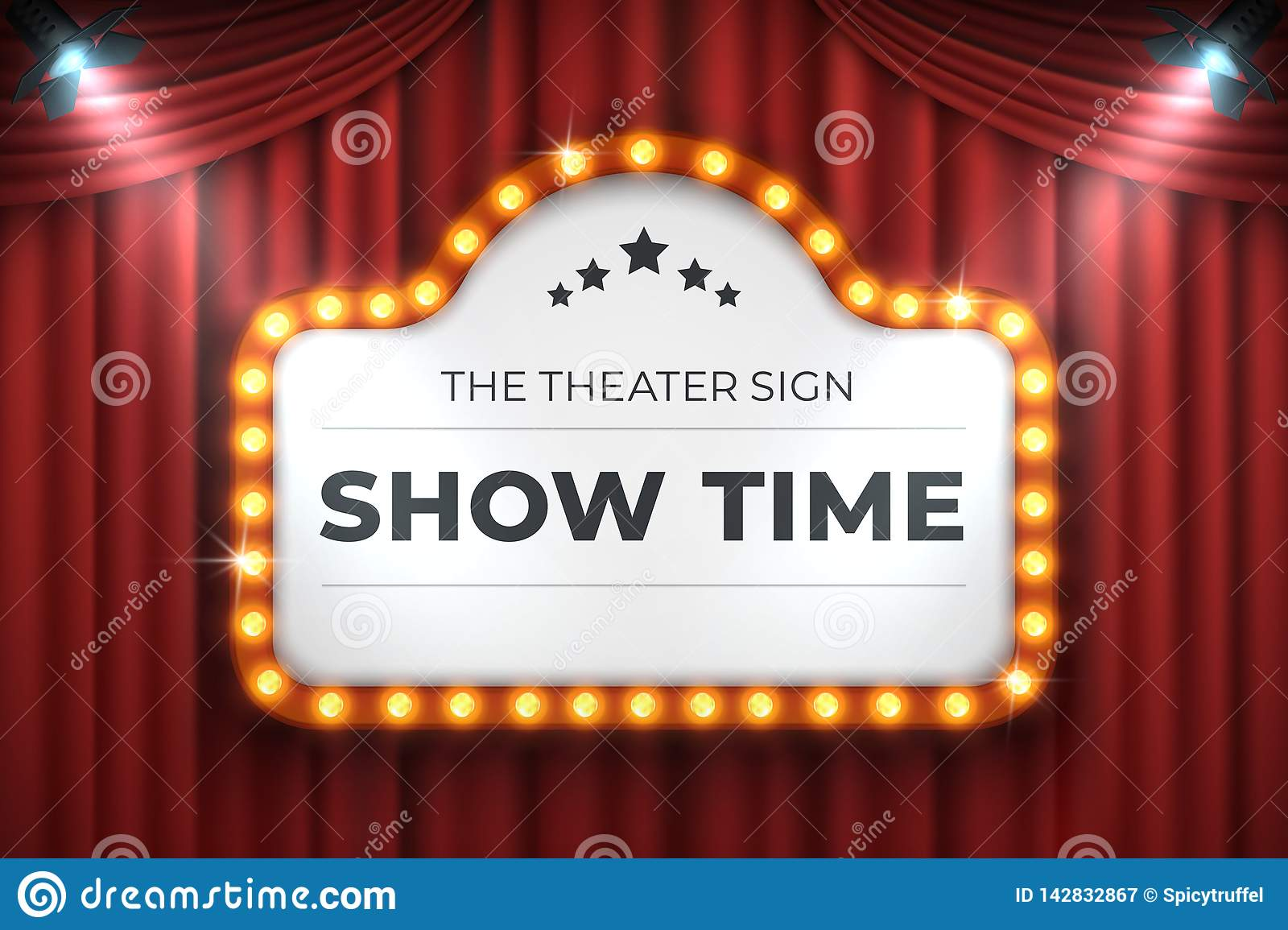 Theater cinema sign. Movie light frame, retro marquee banner on red background. Vector light bulb realistic billboard