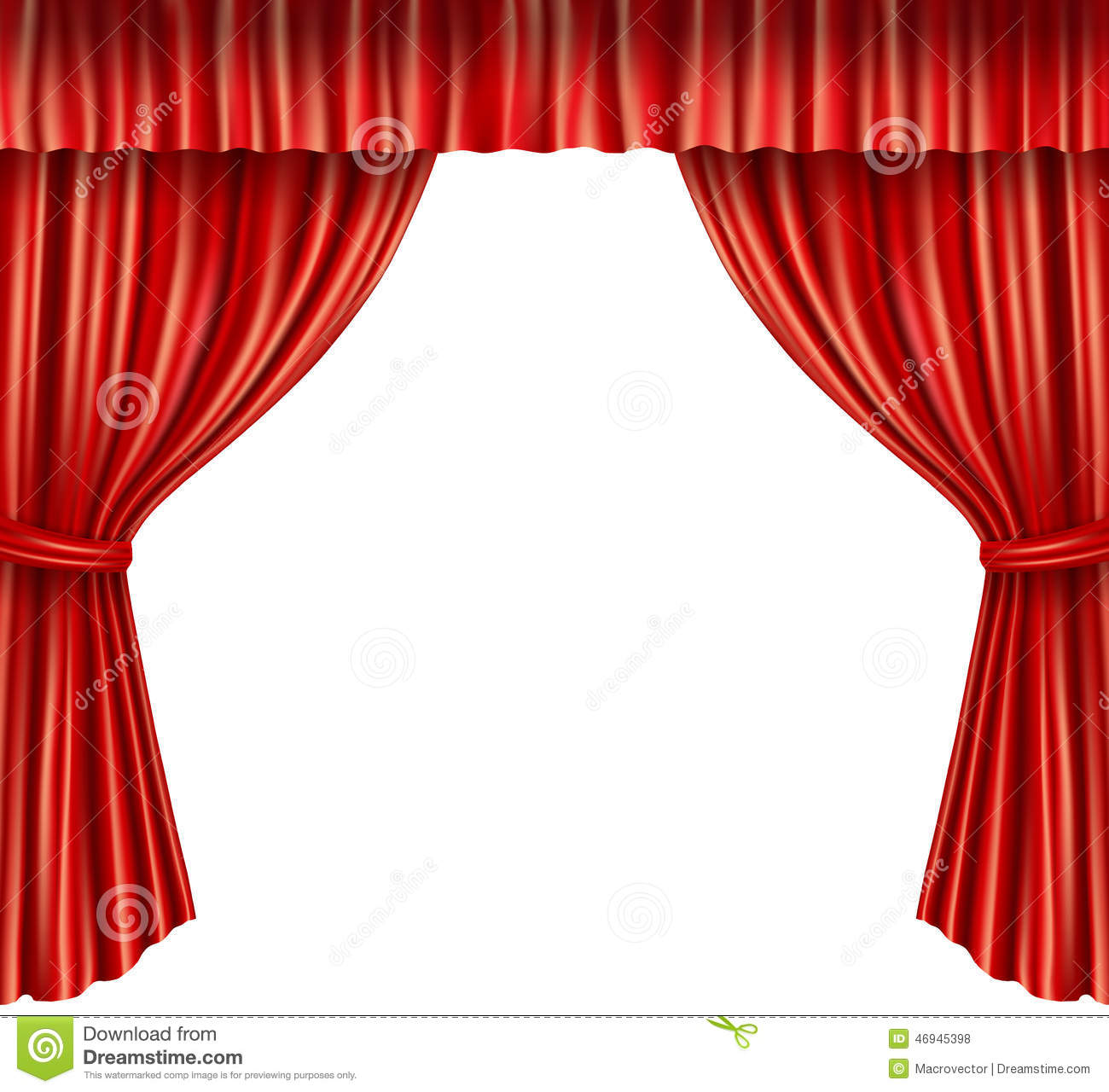 Theater Curtains Isolated Stock Vector Illustration Of