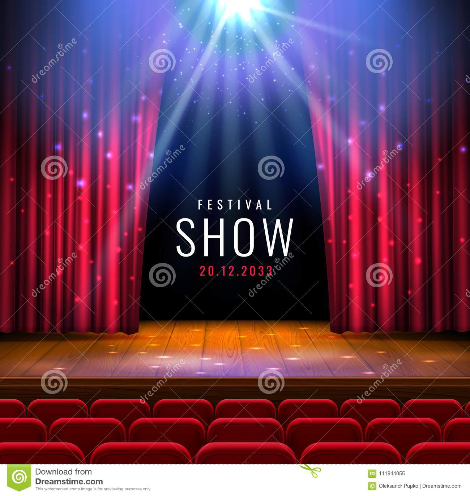 Theater houten stadium met rood gordijn, schijnwerper, zetels Vector feestelijk malplaatje met lichten en scène Afficheontwerp vo