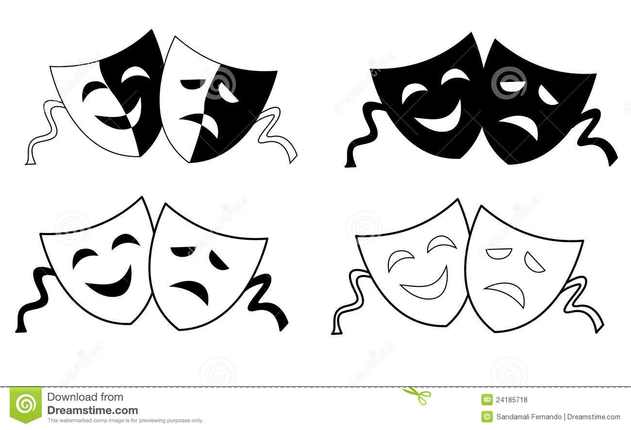 Masks silhouette representing theater comedy and drama over white ...