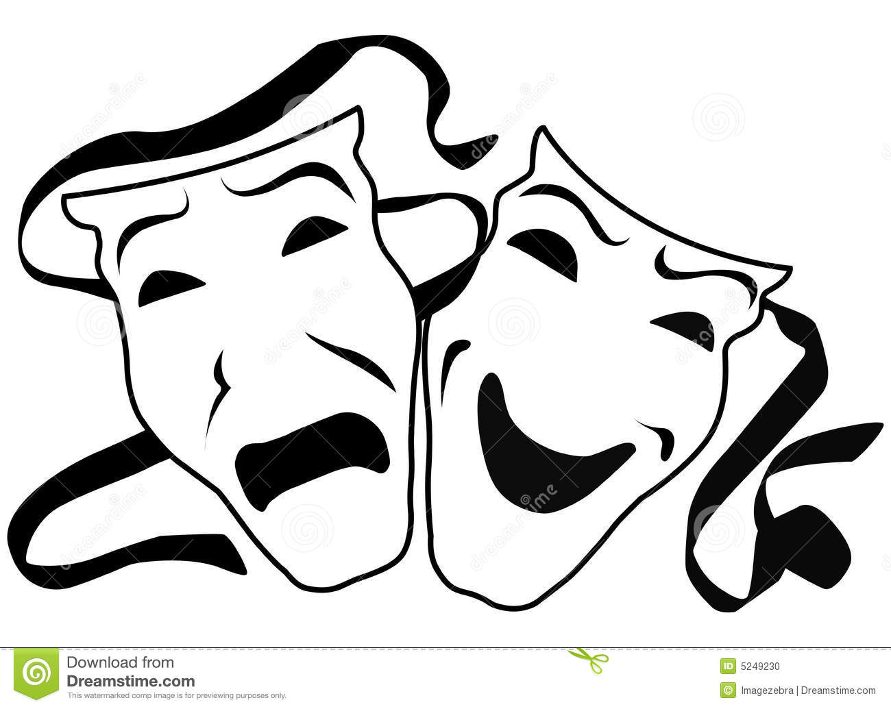 Vector image of theater masks tragedy and comedy