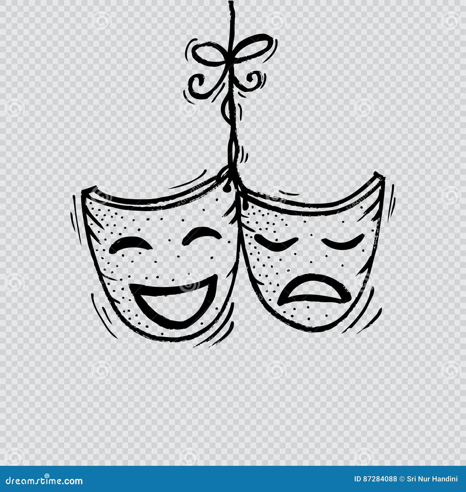 Drama Masks Sketch Cartoon Vector Cartoondealer Com