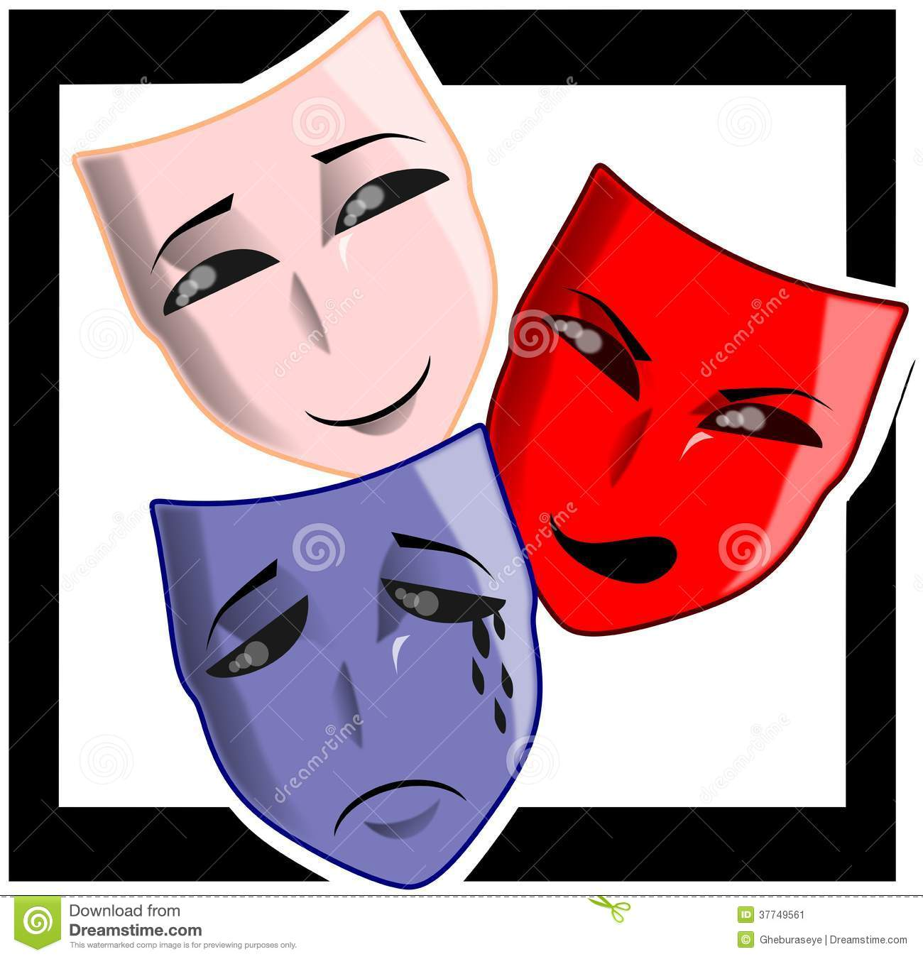 ... mask with three different facial expression: happy, angry and sad Angry Black Woman Face