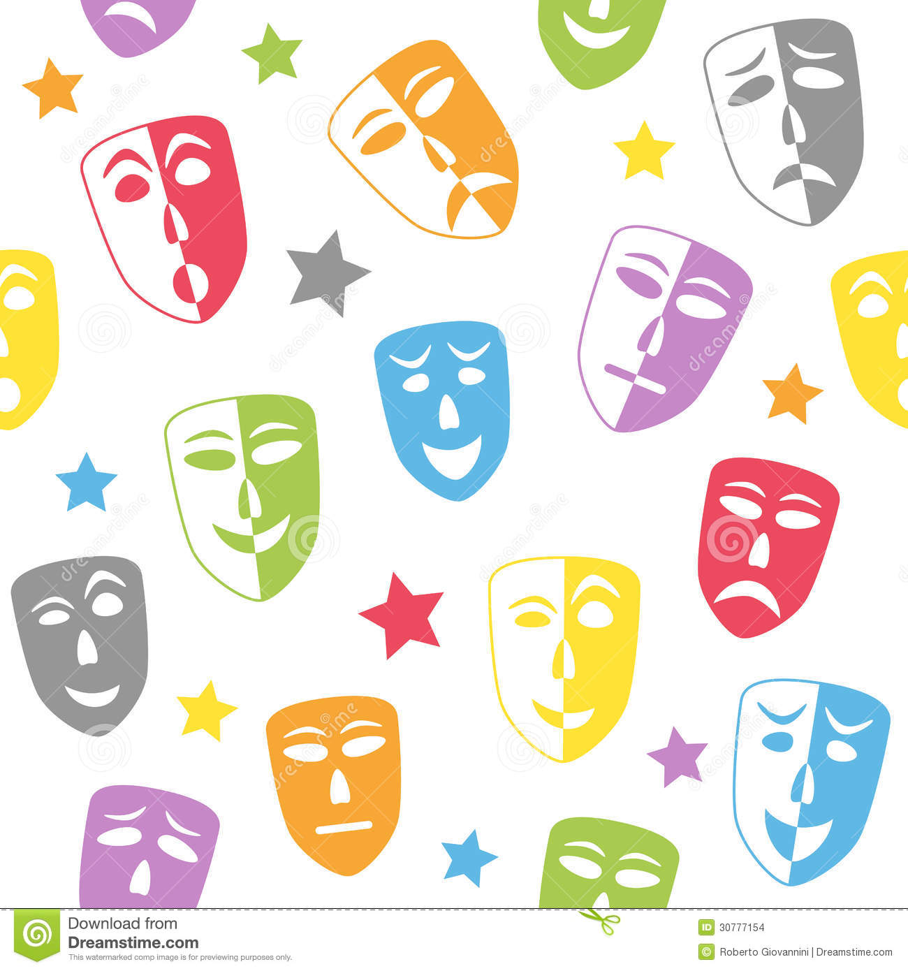 Theater Masks Seamless Pattern Stock Images - Image: 30777154
