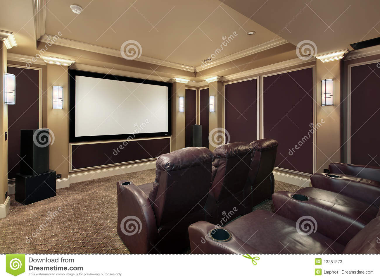 Theater Room With Lounge Chairs Stock Image Image Of