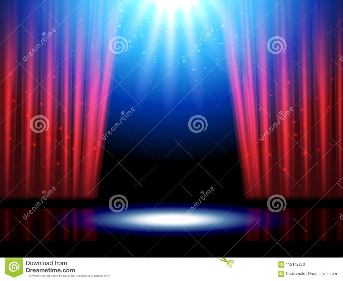 Theater Scene With Lights Or Theatre Stage Stock Vector