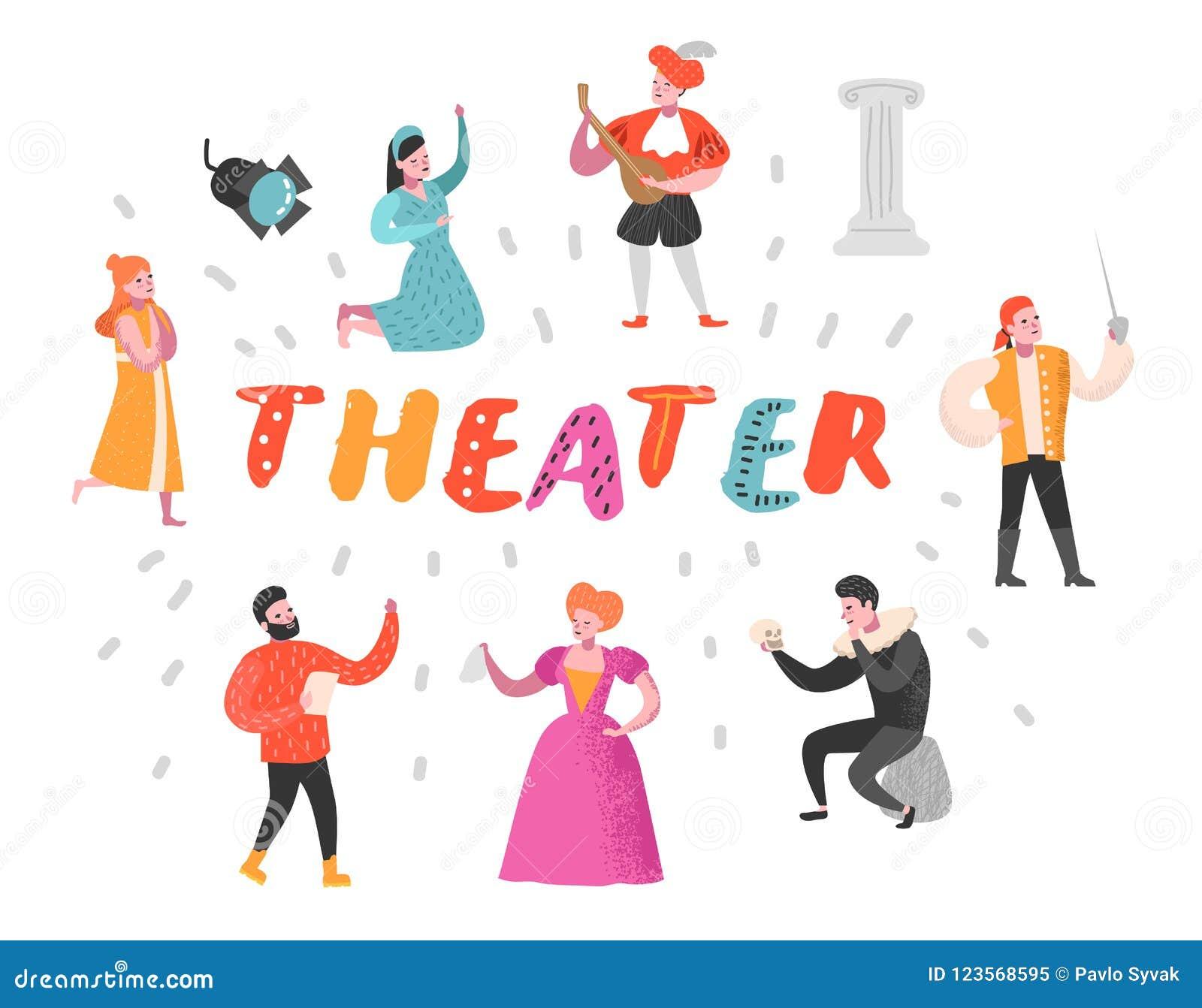 Theater-Schauspieler Characters Set Flaches Leute-Theater- Perfomances Künstlerischer Mann und Frau auf Stadium