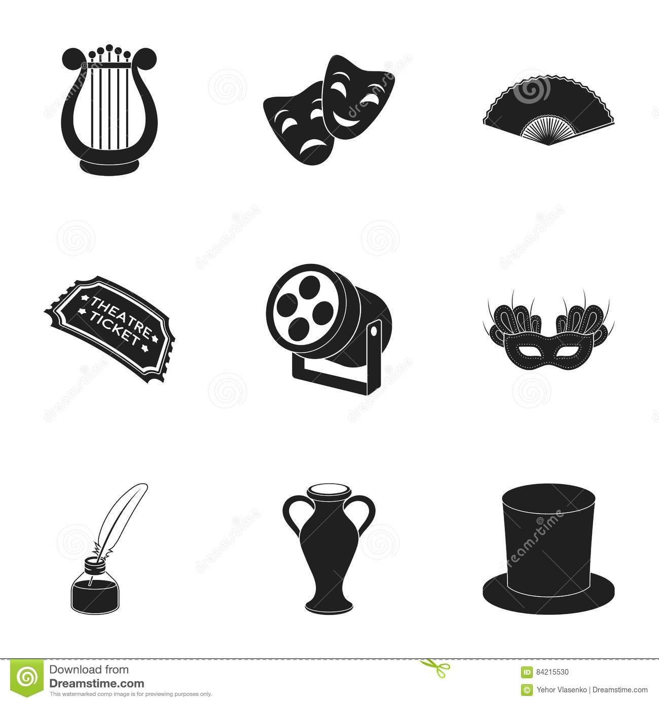 Collection Theater Icons Items Design Performance Interior Any Elements Set Entertainment Drama Tragedy on red hat purses