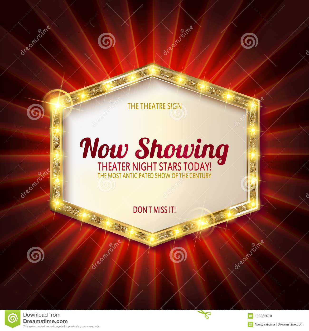 Download Theater Sign Or Cinema On Curtain Stock Illustration