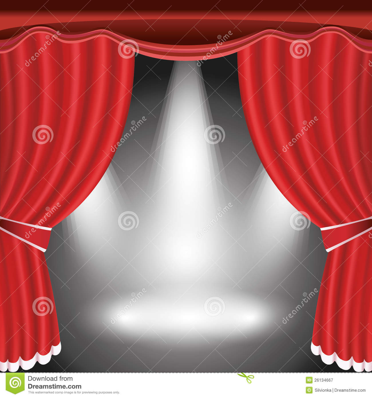 Stage curtains spotlight - Theater Stage With Open Red Curtain And Spotlight Royalty Free Stock Photography