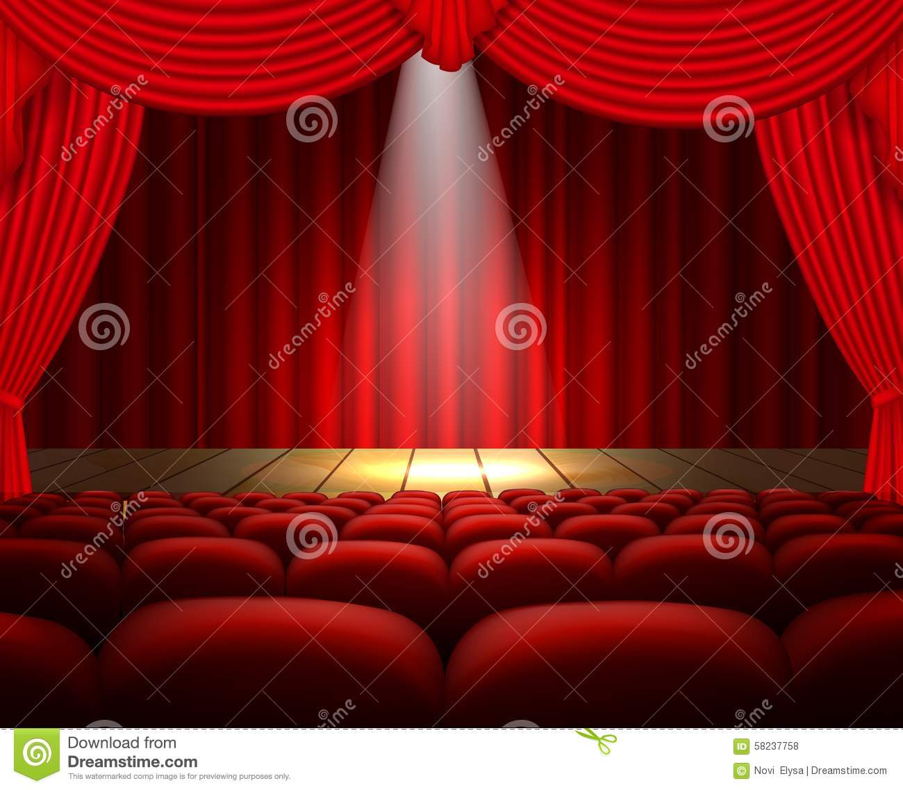 Stage curtains spotlight - A Theater Stage With A Red Curtain Seats And A Spotlight Stock Vector
