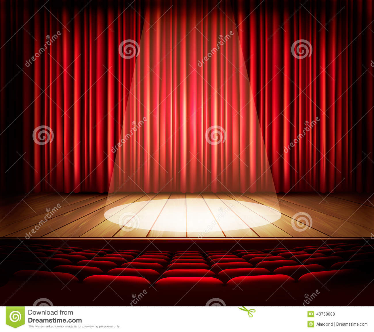 A theater stage with a red curtain, seats and a spotlight.