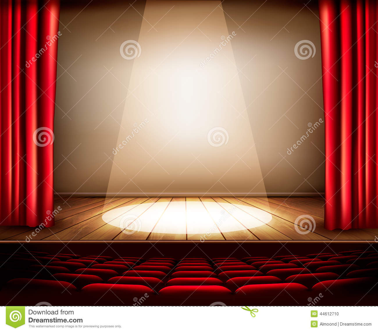 Stock Illustration Theater Stage Red Curtain Seats Spotlight Vector Image44612710 on More 5159