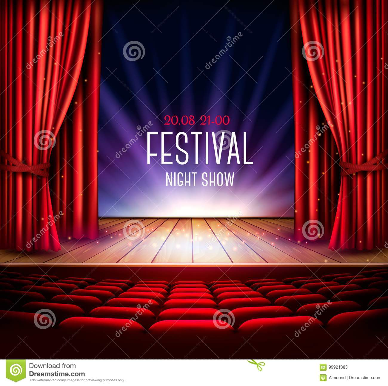Download A Theater Stage With Red Curtain Stock Vector