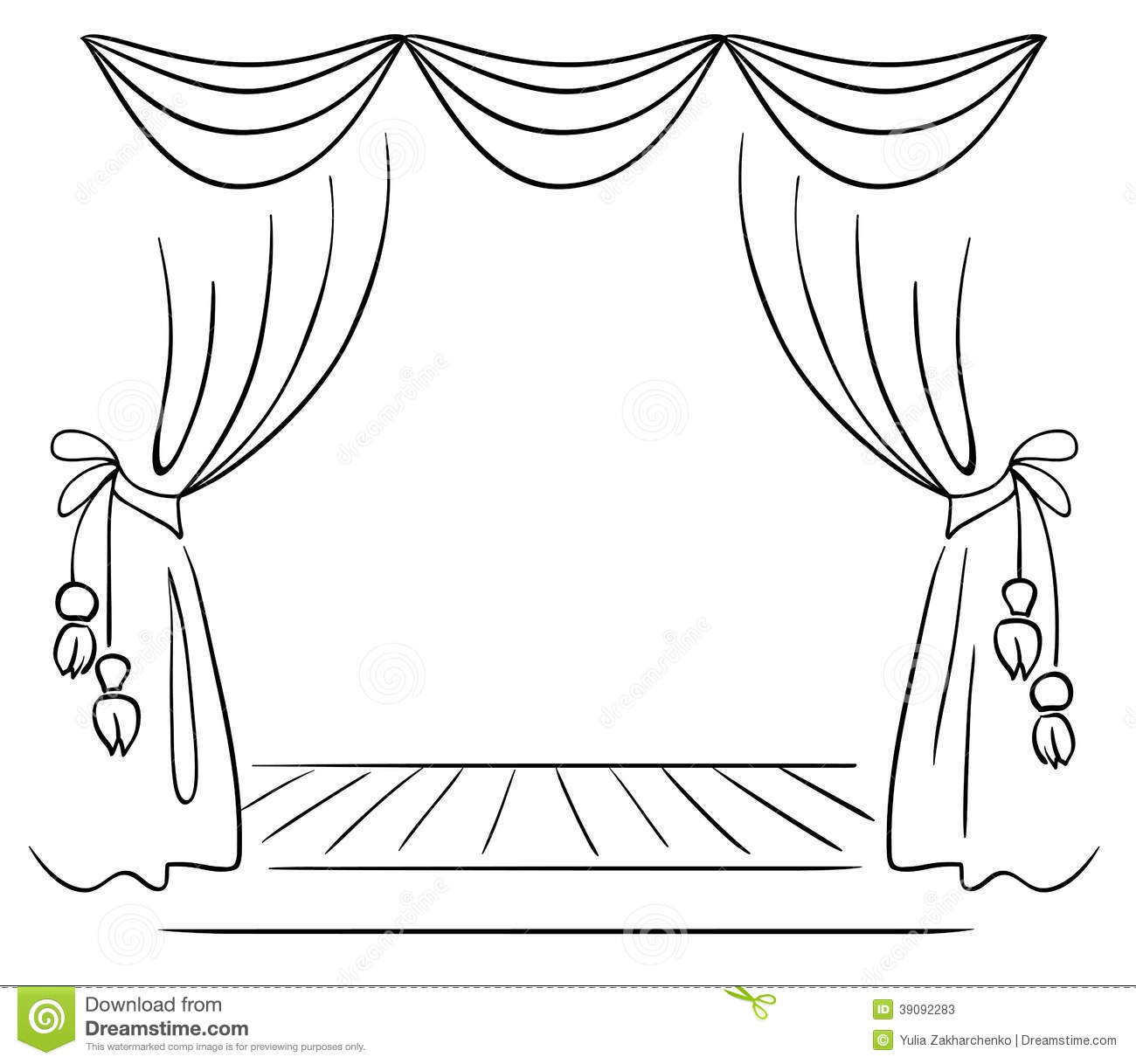 Free coloring pages of stage curtains - Royalty Free Stock Photo