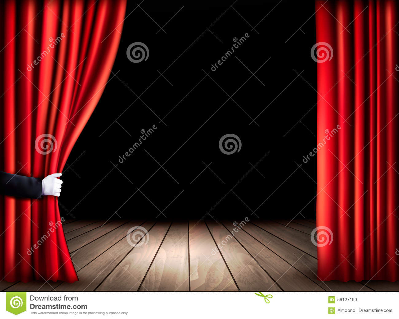 Theater stage with wooden floor and open red curtains for Table qui s ouvre