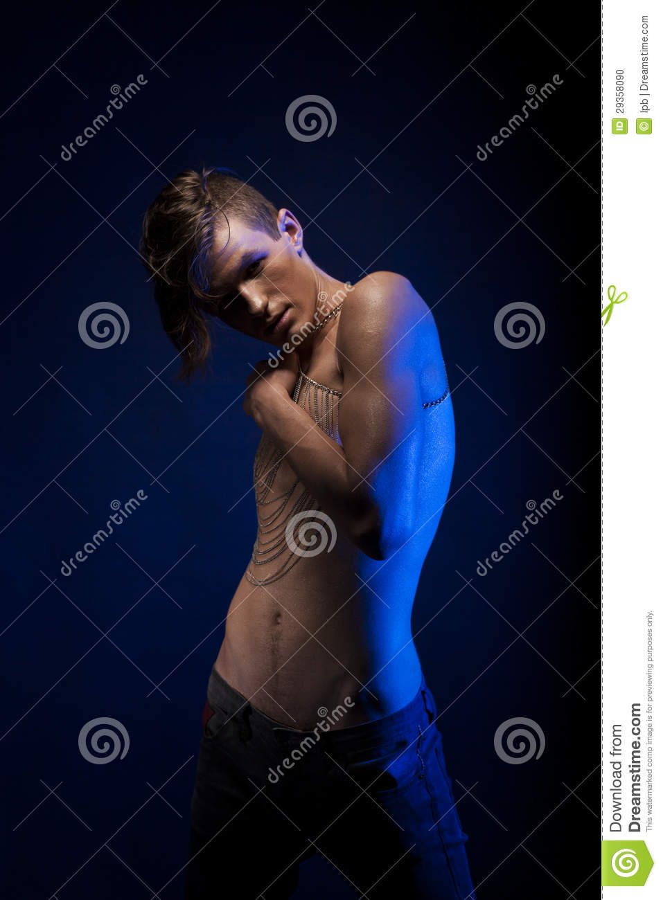 Theater. Undressed Handsome Man in Dramatic Pose. Naked Torso