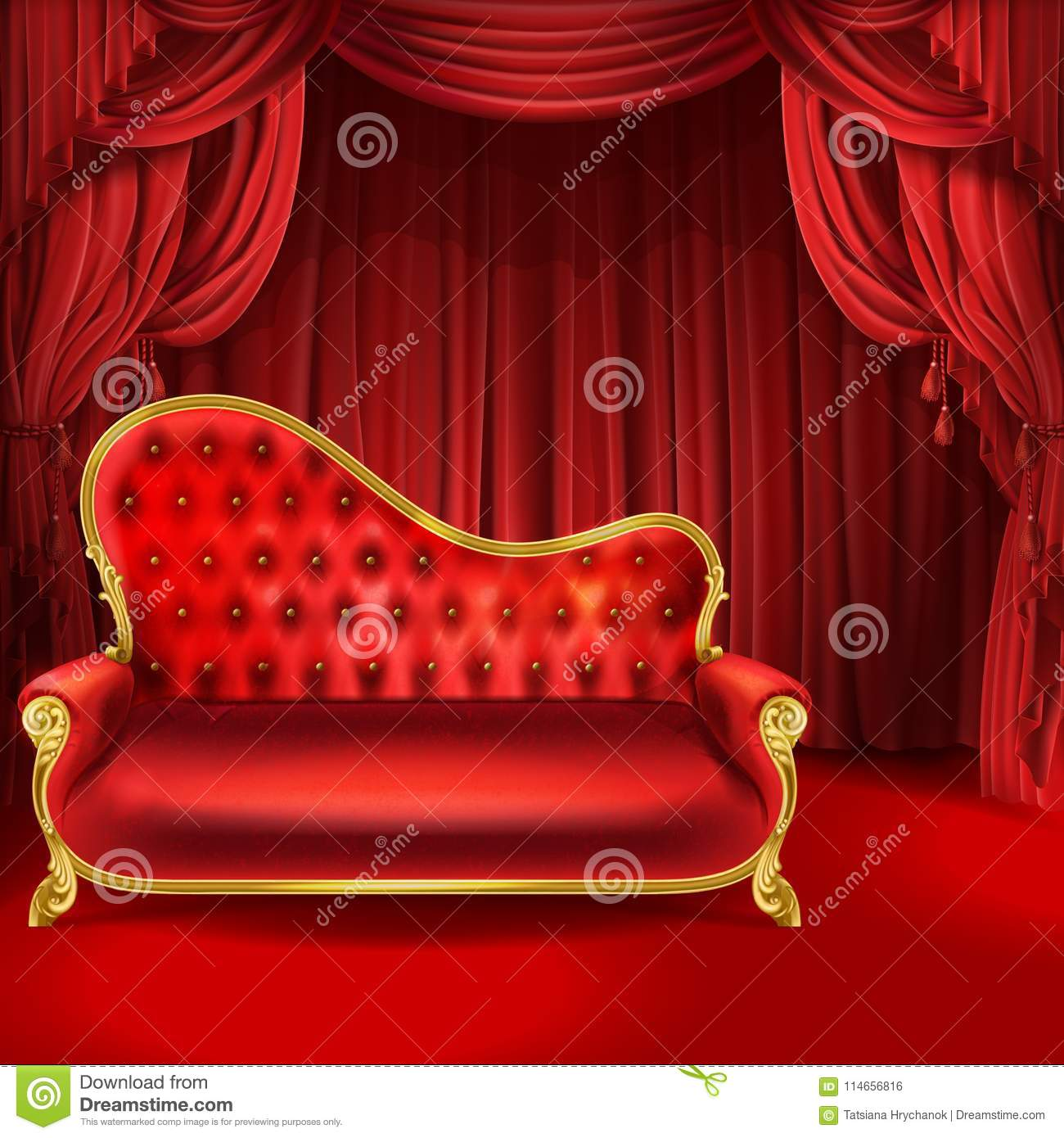 Theater vector concept, red sofa, scene curtains