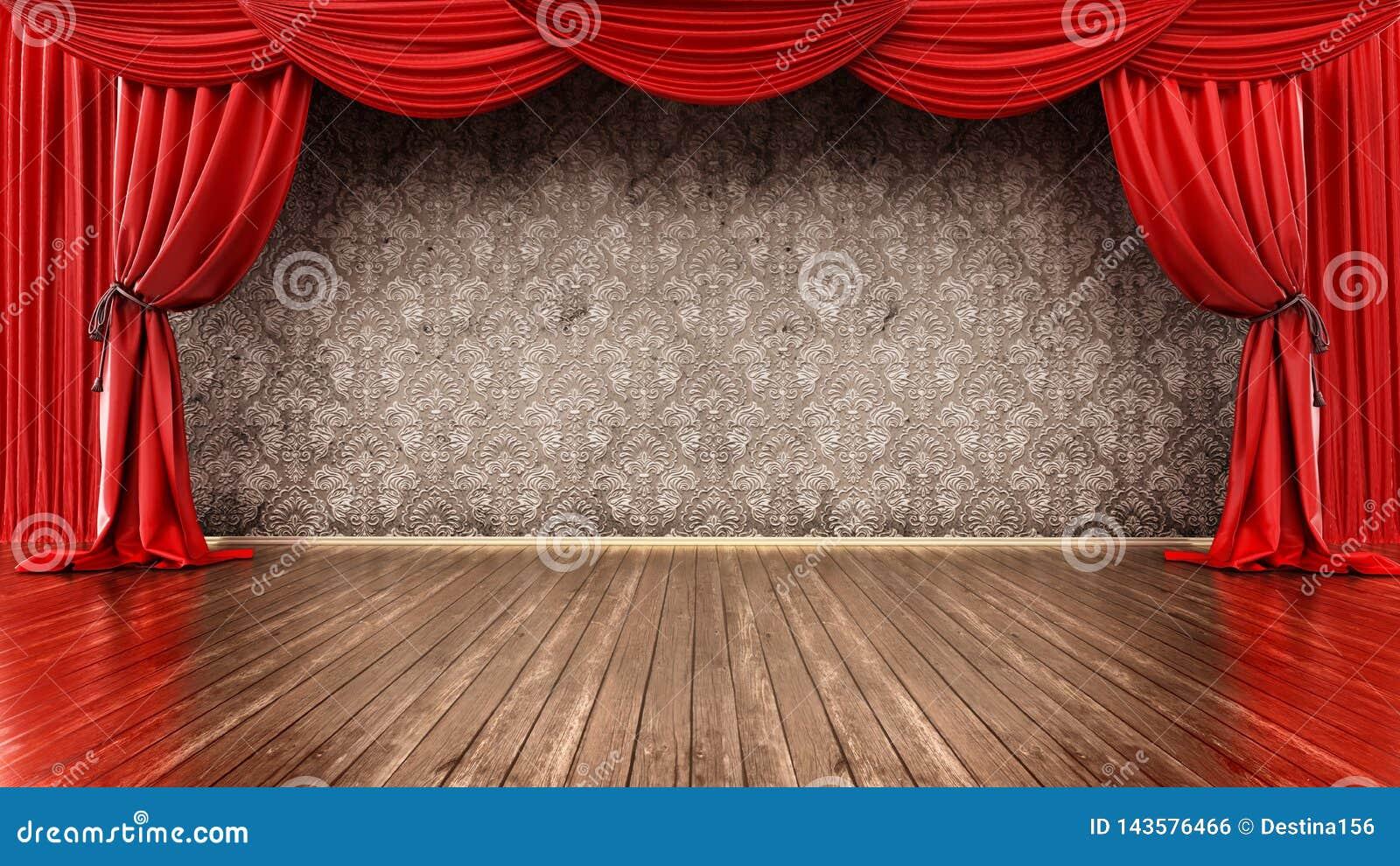 Theaterstadium mit rotem Vorhang- und Parkettboden Abbildung 3D