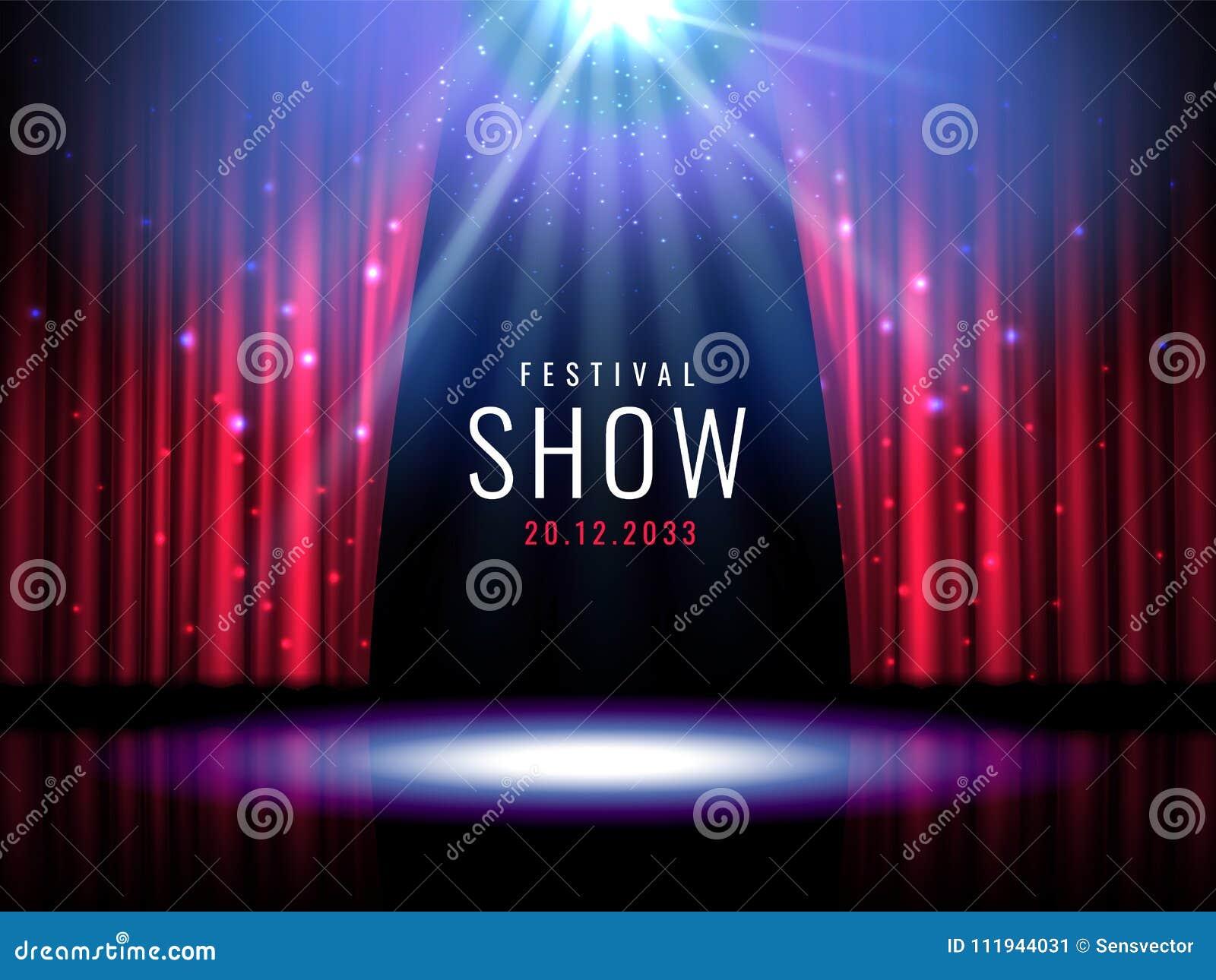 Theaterstadium mit rotem Vorhang und Scheinwerfer Vector festliche Schablone mit Lichtern und Szene Plakatdesign für Konzert