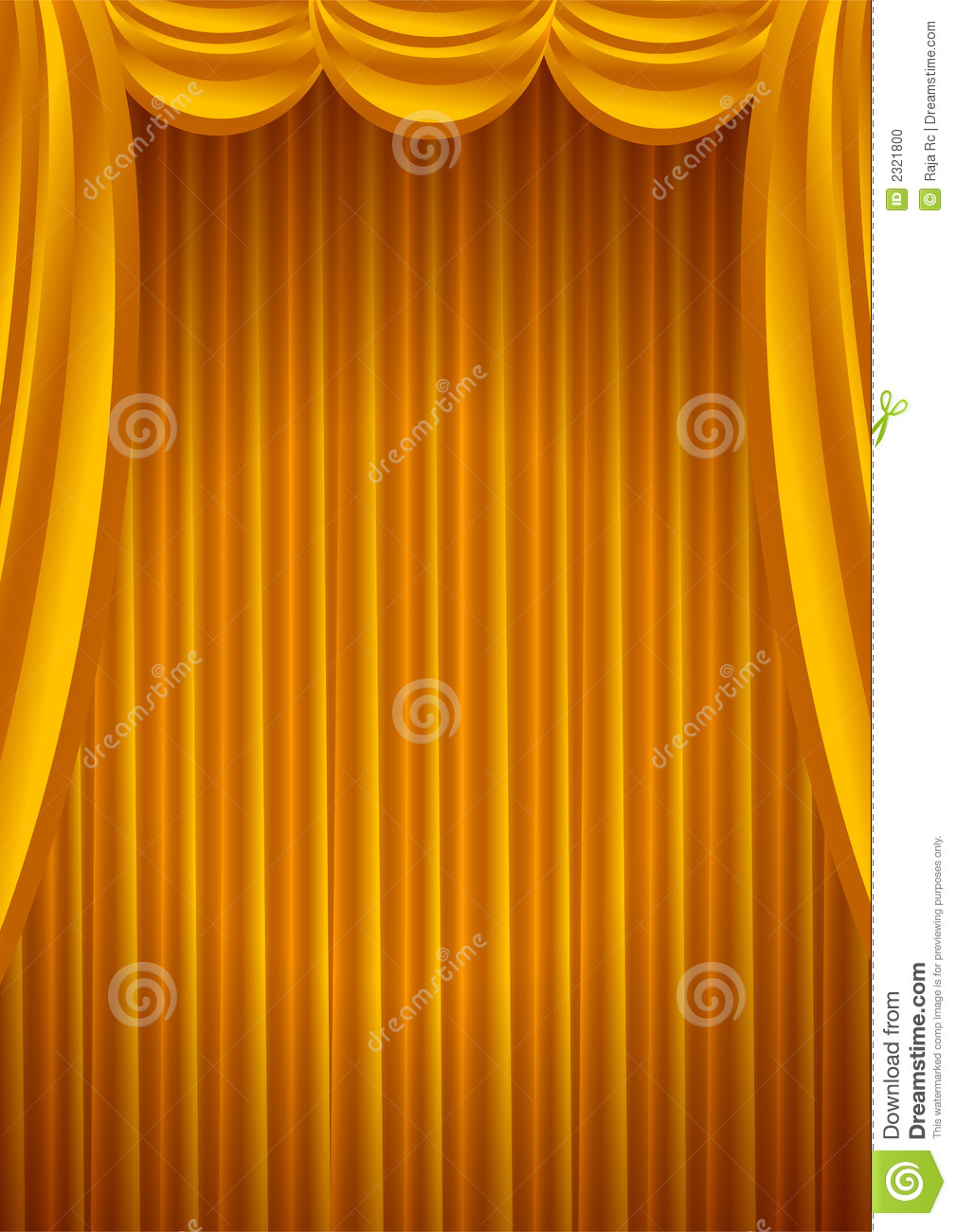 Beautiful golden theater curtains background - vector.