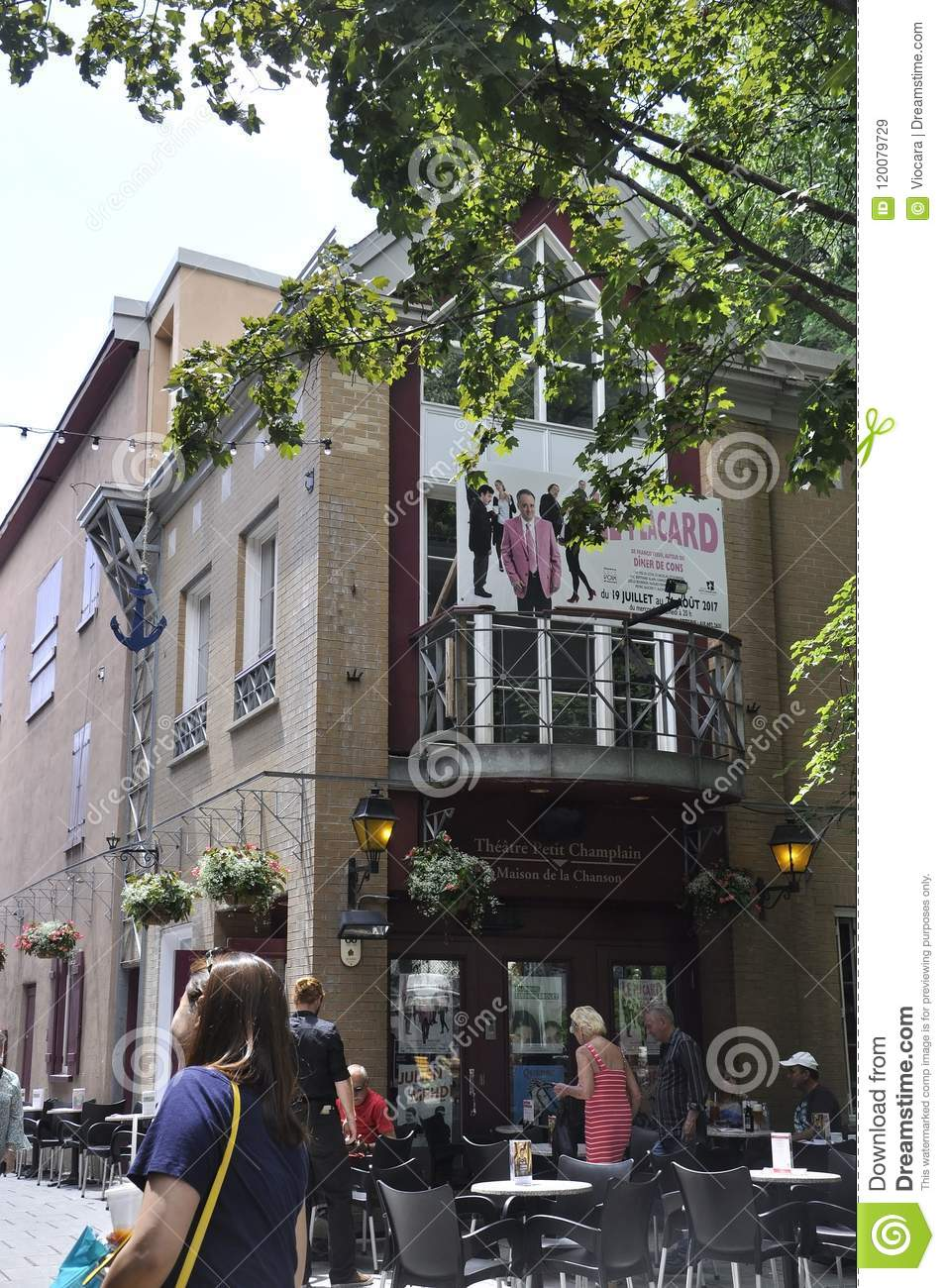 Theatre Maison De La Chanson From Rue Du Champlain In Old Quebec City The  UNESCO World Heritage Site In Canada On 28th June 2017