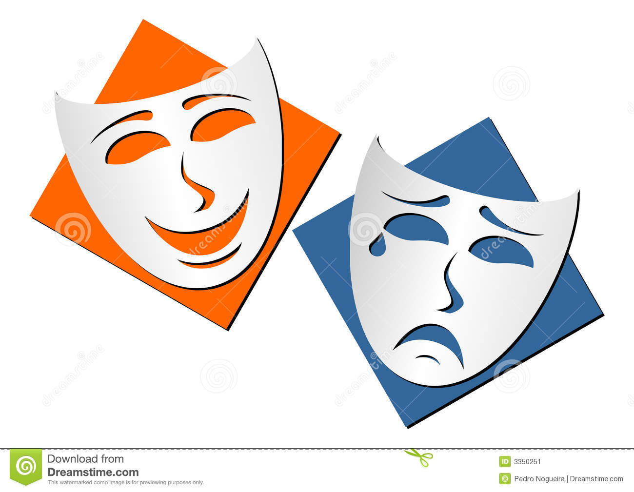 Masks representing theatre comedy and drama over white background.